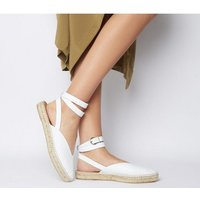 Office Faris Point Ankle Strap Espadrille WHITE LEATHER