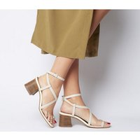Office Mineral Toe Post Block Sandal OFF WHITE LEATHER