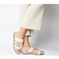 Office Stunner- Buckle Strap Mule Sandal OFF WHITE LEATHER SNAKE SOLE
