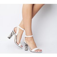 Office Healing Two Part Cylindrical Heel WHITE LEATHER
