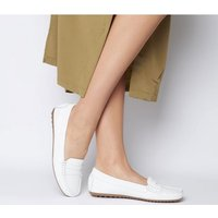 Office Flowing Driver Flat WHITE LEATHER