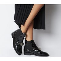 shop for Office Arcade Chain Front Boot BLACK CROC PATENT LEATHER at Shopo