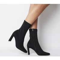 Office Amore Block Heel Sock Boot BLACK STRETCH