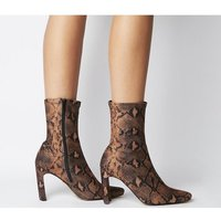 Office Amore Block Heel Sock Boot SNAKE STRETCH