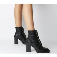 Office Astra- Heeled Lace Up Boot BLACK CROC LEATHER