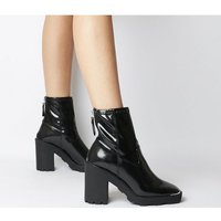 Office Altitude- Chunky Sock Boot BLACK CRINKLE PATENT