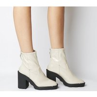 Office Altitude- Chunky Sock Boot OFF WHITE CRINKLE PATENT