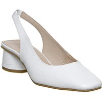 Office Manners Slingback Flared Heel Court PATENT WHITE CROC LEATHER