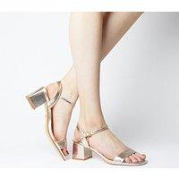 shop for Office Mula Minimal Block Heel Sandals ROSE GOLD SNAKE at Shopo