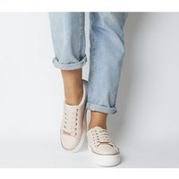 Office Further Flatform Trainer NUDE WITH ROSE GOLD DIAMANTE RAND
