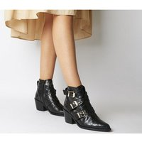 shop for Office Album- Western Buckle Boot BLACK CROC LEATHER GOLD HARDWARE at Shopo