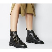 shop for Office Athens- Multi Strap Flat Boot BLACK LEATHER GOLD HARDWARE at Shopo