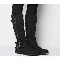 Office Kirsty- Flat Buckle Knee Boot BLACK