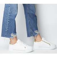 Office Frills- Flatform Lace Up WHITE WITH GOLD