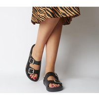 Office Stung- Double Buckle Sandal BLACK LEATHER