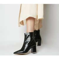 shop for Office Allure Pointed Block Heel Boots BLACK CROC at Shopo