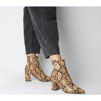Office Allure- Pointed Block Heel Boot BROWN SNAKE