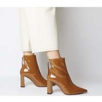shop for Office Alpha- Pointed Back Zip Boot TOFFEE PATENT LEATHER at Shopo