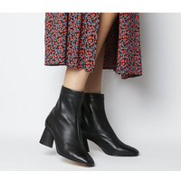 shop for Office Afternoon- Feature Mid Heel Boot BLACK LEATHER FEATURE ZIP at Shopo