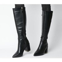 Office Klever- Back Zip Block Heel Knee Boot BLACK