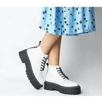 Office Absorb- Chunky Lace Up Boot WHITE LEATHER