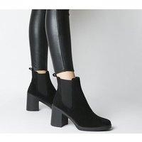 Office Asparagus-block Heel Chelsea Boot BLACK SUEDE