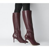 Office Keep-up- Stiletto Knee Boot BURGUNDY LEATHER