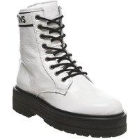 shop for Tommy Hilfiger Platform Leather Flatform Boot WHITE at Shopo