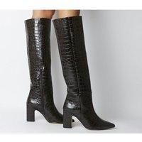 Office Karamel- Block Heel Knee Boot BROWN CROC LEATHER