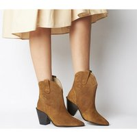 Office A-game- High Cut Embroidered Western TAN SUEDE