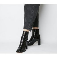 shop for Office Awakening- Front Zip Block Boot BLACK PATENT LEATHER at Shopo