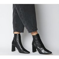 shop for Office Affection- Block Heel Lace Up Boot BLACK LEATHER at Shopo