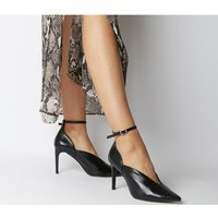 Office Hot Toddy- Ankle Strap Shoe Boot BLACK LEATHER