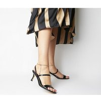 Office Merry-go-round- Strappy Sandal With Ankle Chain BLACK SNAKE