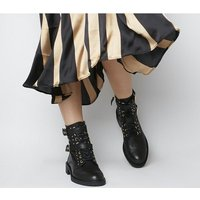 Office Accomplice- Lace Up Buckle Boot BLACK LEATHER GOLD HARDWARE