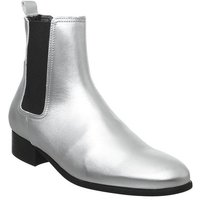 Office Bold Block Heel Boot SILVER LEATHER