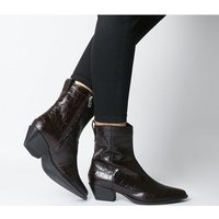 shop for Vagabond Emily Western Block Heel BROWN EMBOSSED LEATHER at Shopo