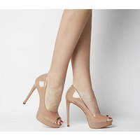 shop for Office Honeyhoney- Peep Toe Platform Court NUDE PATENT LEATHER at Shopo