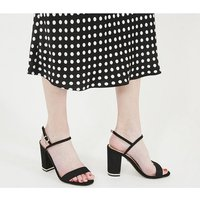 shop for Office Hollie- Block Heel Sandal BLACK WITH GOLD HARDWARE at Shopo