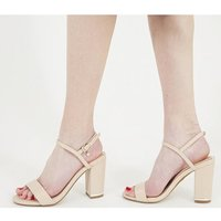 Office Hollie- Block Heel Sandal NUDE WITH GOLD HARDWARE