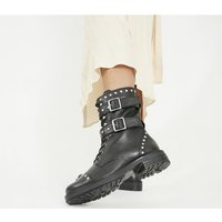 Office Another - High Cut Lace Up Boot BLACK LEATHER WITH STUDS