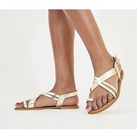 Office Serious - Tan Toe Loop Sandal Wf GOLD LEATHER