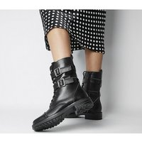 Office Another One - High Cut Lace Up Boot BLACK LEATHER WITH BALL BARING