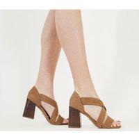 Office Money- Block Heel Sandal TAN SUEDE STACK HEEL