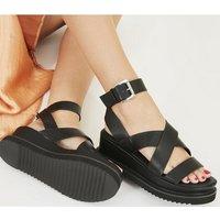 Office Miraculous- Ankle Strap Flatform BLACK