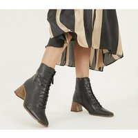 Office Ariella - Lace Up Boot BLACK LEATHER WITH LIGHT STACK HEEL
