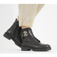Office Ambiguous - Lace Up Boot BLACK LEATHER WITH GOLD HARDWARE