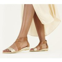 shop for Office Sally Espadrille Wedge Sandal TAN AND GOLD at Shopo
