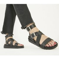 Office Swordfish - Buckle Sandal BLACK LEATHER
