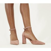 Office Minnie- Ankle Strap Court DUSTY PINK SUEDE